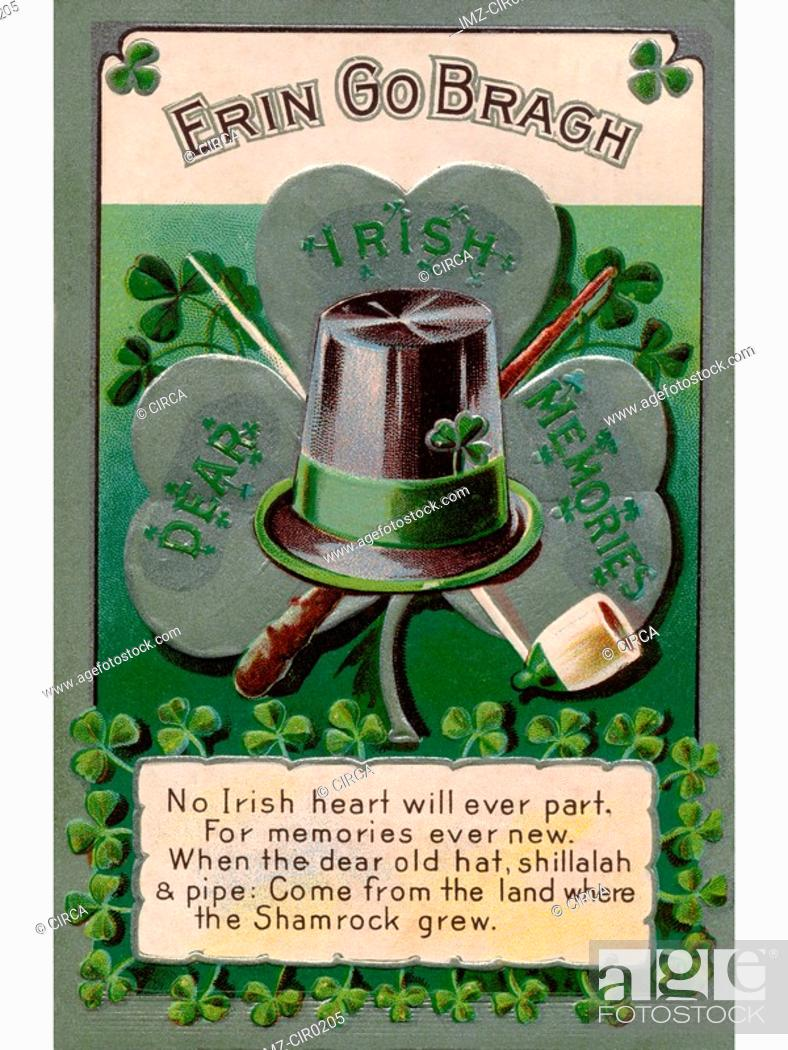 Stock Photo: An Irish poem printed on a vintage card.