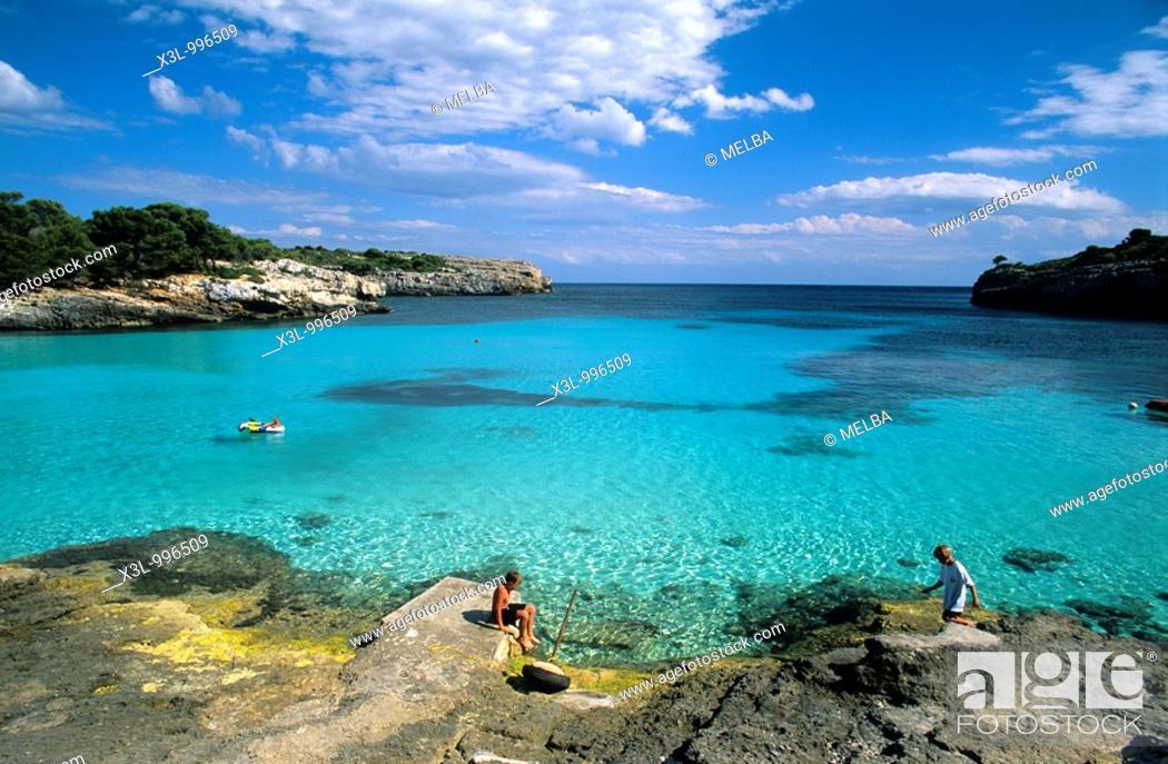 Stock Photo: Beach or Cala Turqueta  Minorca  Balearic islands  Spain.