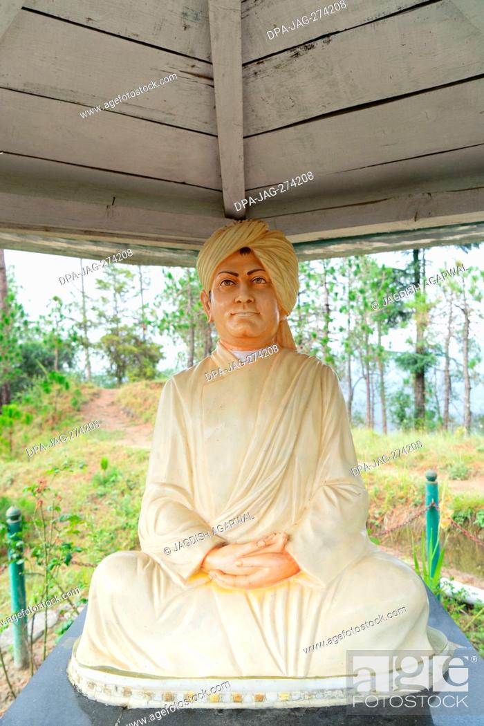 Stock Photo: Swami Vivekananda statue, Eco Park, Deodars Guest House, Papersali, Almora, Uttarakhand, India, Asia.