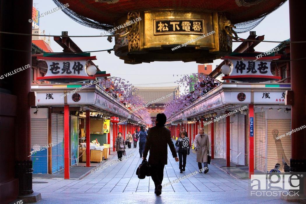 Stock Photo: Senso-ji Temple,Nakamise Dori street, Asakusa district, Tokyo,Tokyo, Japan, Asia.