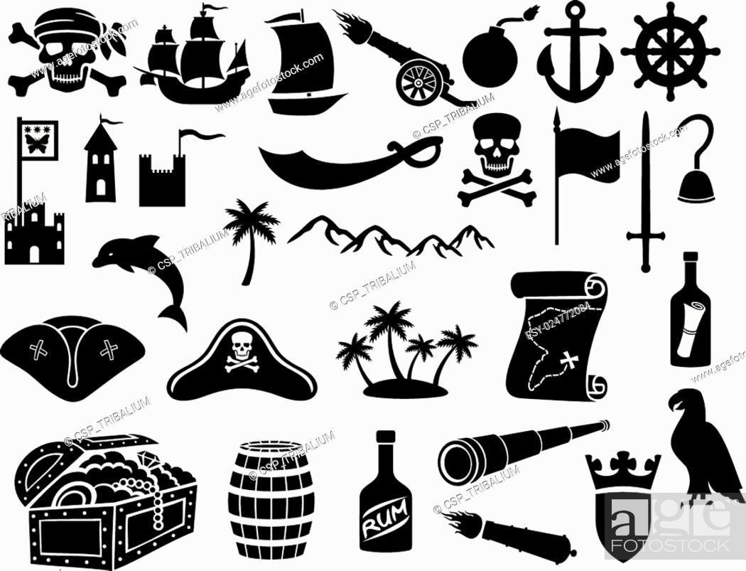 Stock Vector: pirates icons set.