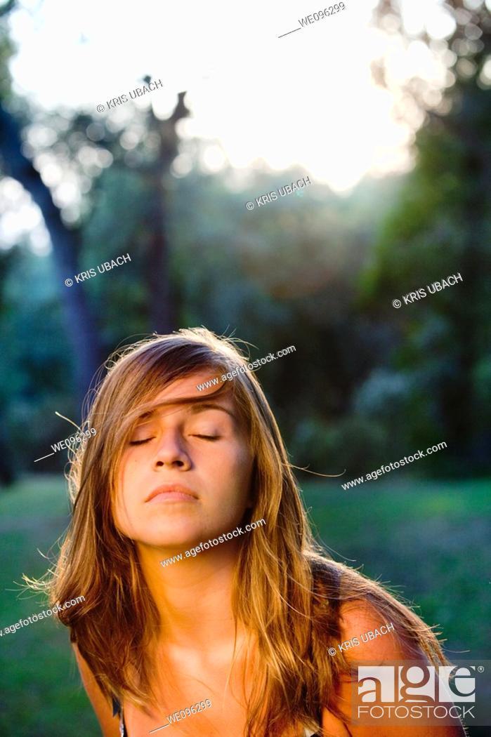 Stock Photo: Teen in a garden.