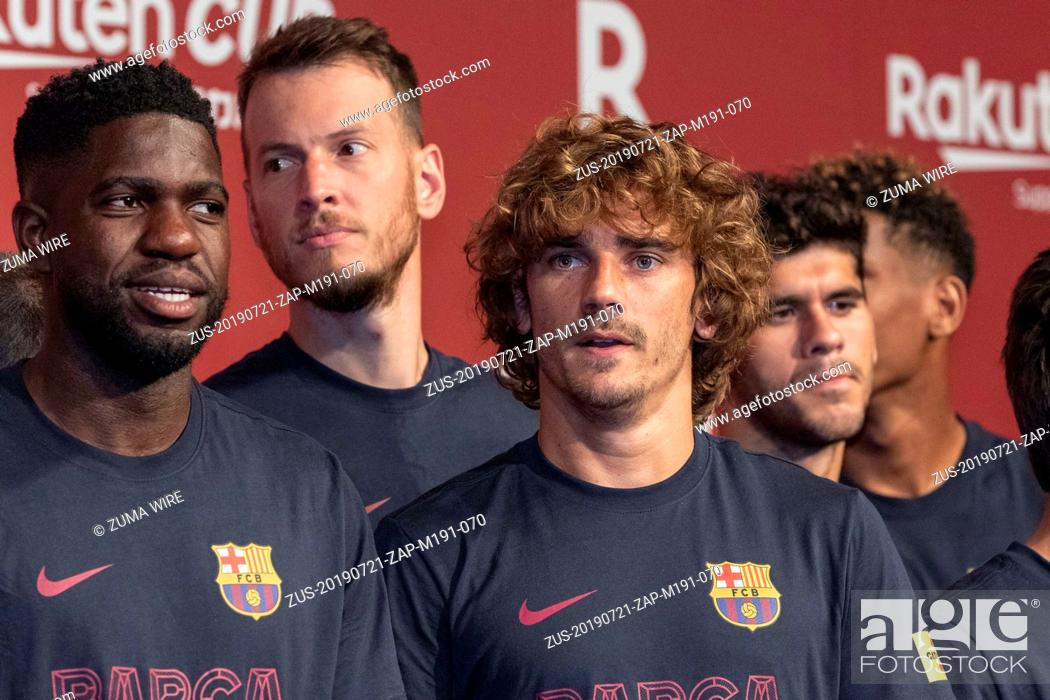 Stock Photo: July 21, 2019 - Tokyo, Japan - FC Barcelona player Antoine Griezmann (C) and teammates attend a reception party for the Rakuten Cup at ANA InterContinental.
