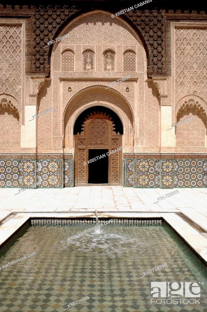 Stock Photo: Ali ben Youssef Medersa,traditional islamistic theological university in the medina of Marrakesh, Morocco  Maghreb, North Africa.
