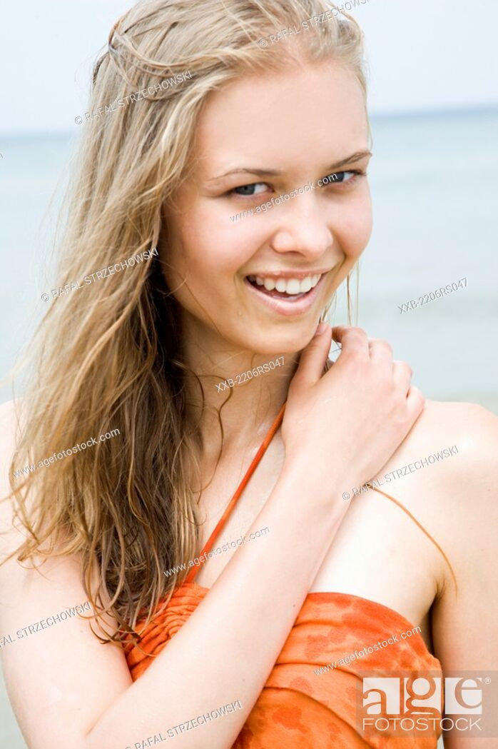 Stock Photo: smiling woman in the sea.