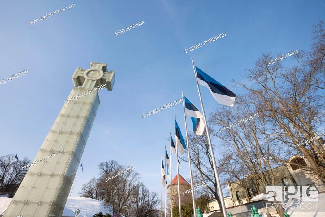 Stock Photo: Low angle view of Freedom Monument and flagpoles, Tallinn, Estonia, Europe.