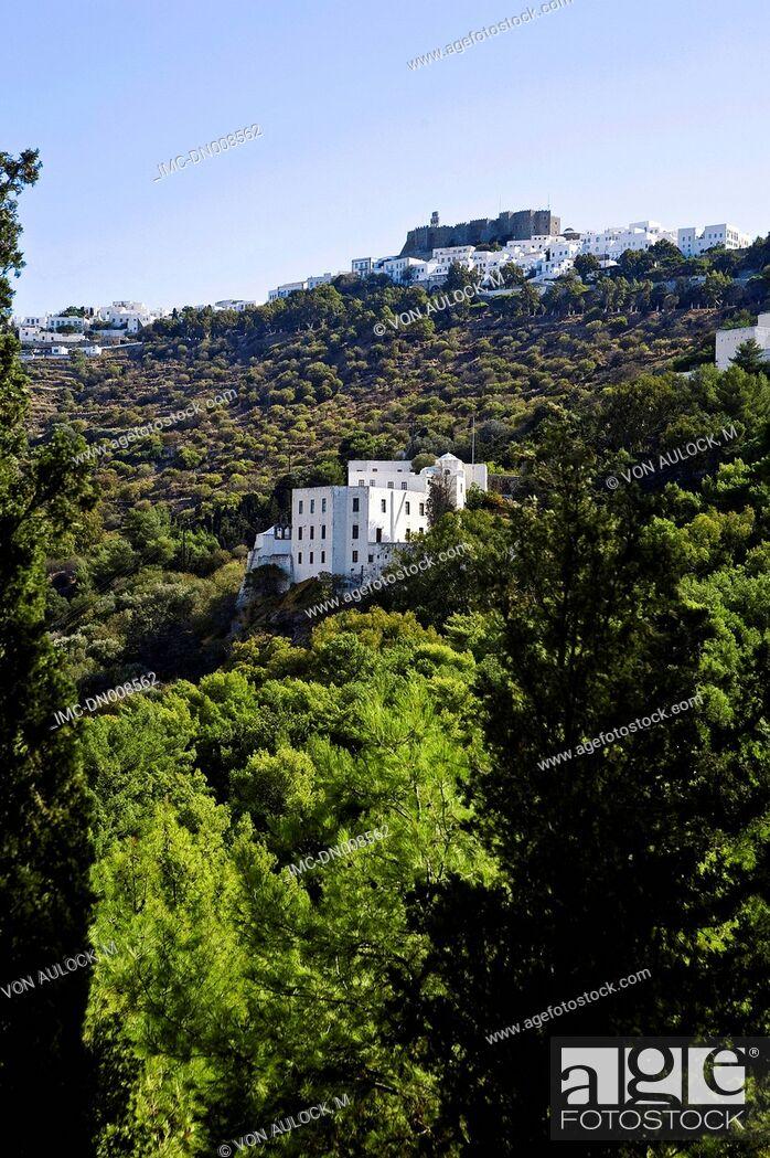 Stock Photo: Greece, Dodecanese, Patmos, monastery of St John the theologian.