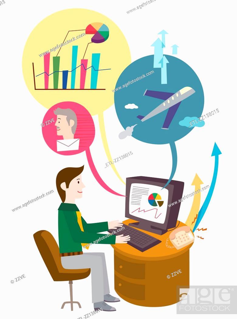 Stock Photo: Computer work.