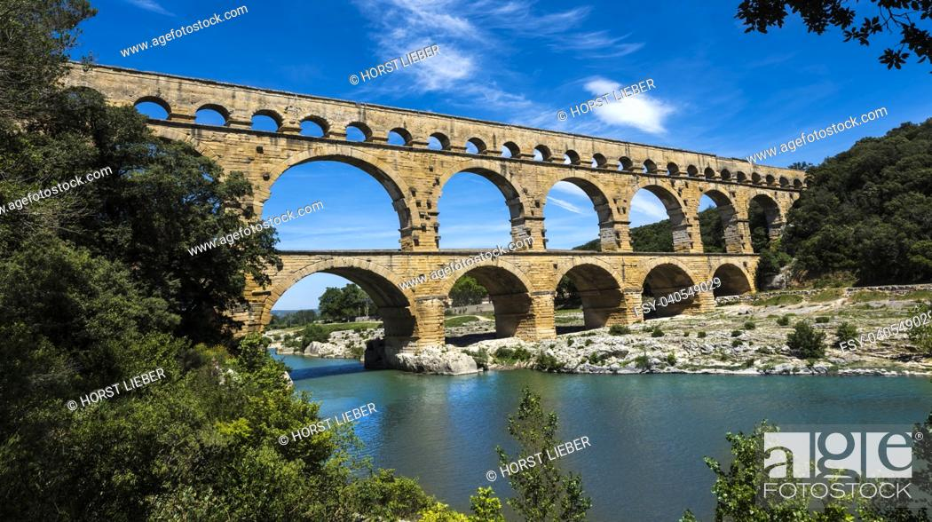 Stock Photo: Ancient Roman Aqueduct - Pont du Gard, near Nimes, Languedoc France, Europe.