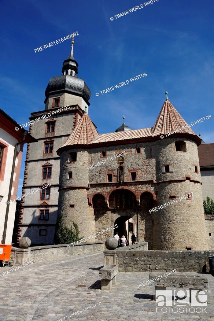 Stock Photo: Scherenbergtor and Kiliansturm, Marienberg Fortress, Würzburg, Lower Franconia, Bavaria, Germany / Scherenbergtor und Kiliansturm, Festung Marienberg, Würzburg.