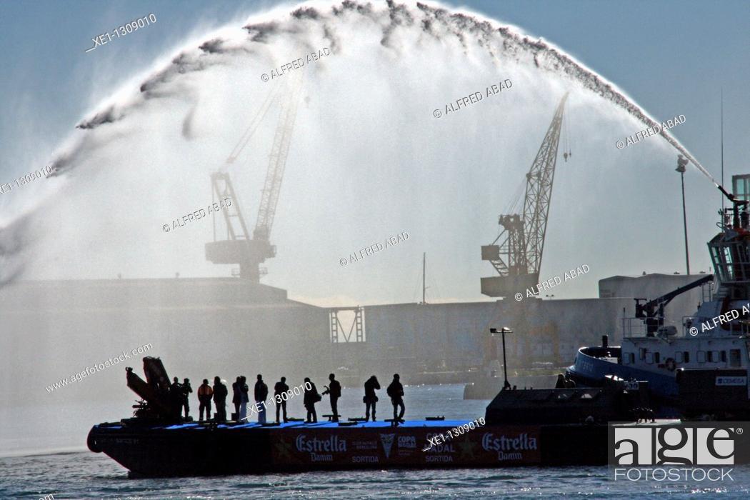 Stock Photo: Platform on the sea, Port Vell, Barcelona, Catalonia, Spain.