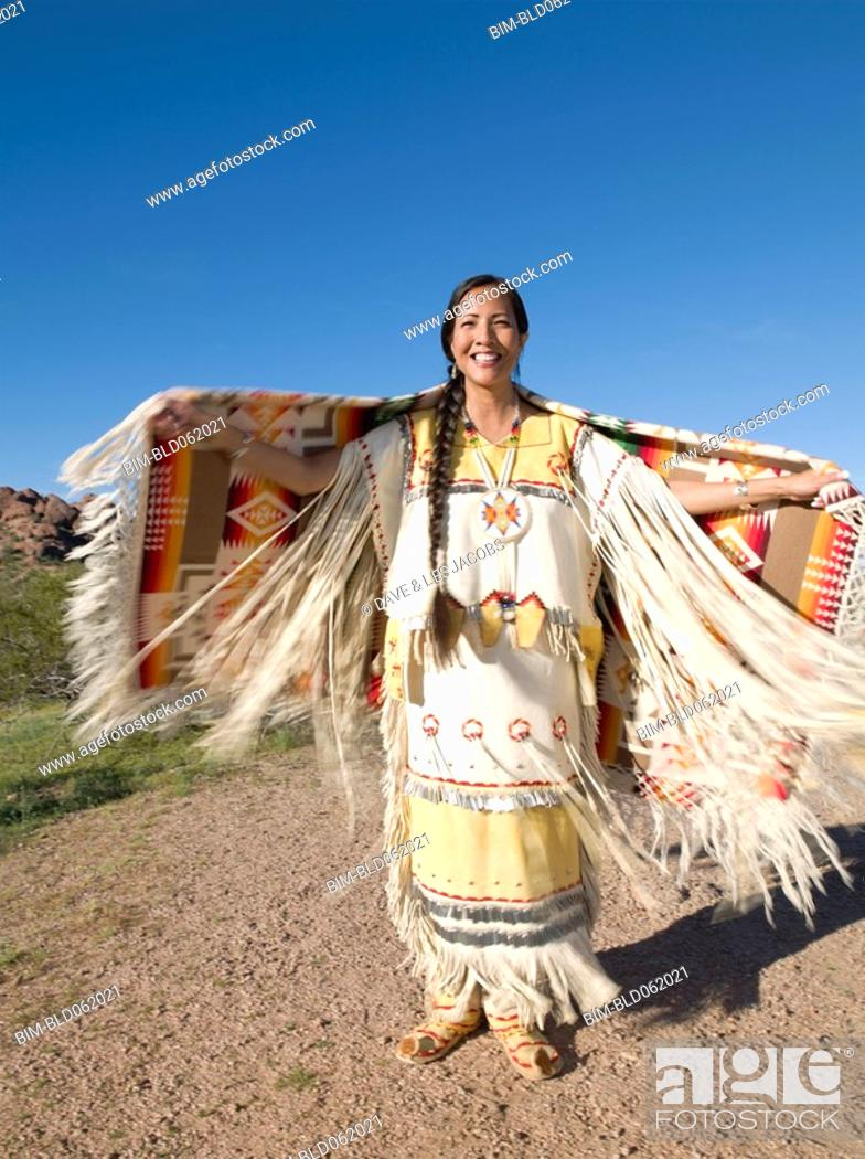 Stock Photo: Native American woman in traditional clothing.
