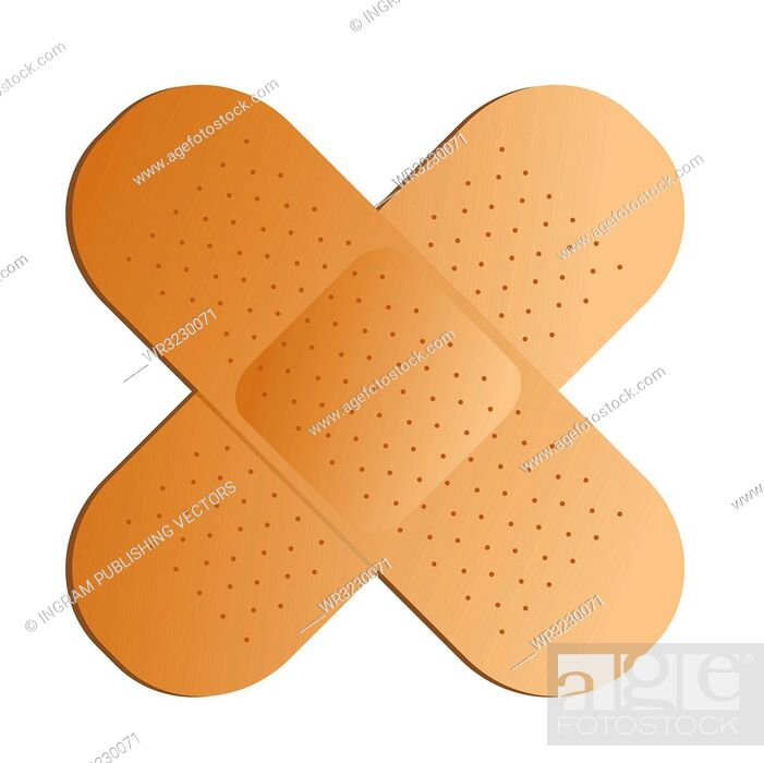 Stock Vector: Two illustrated band aids cross with a drop shadow.