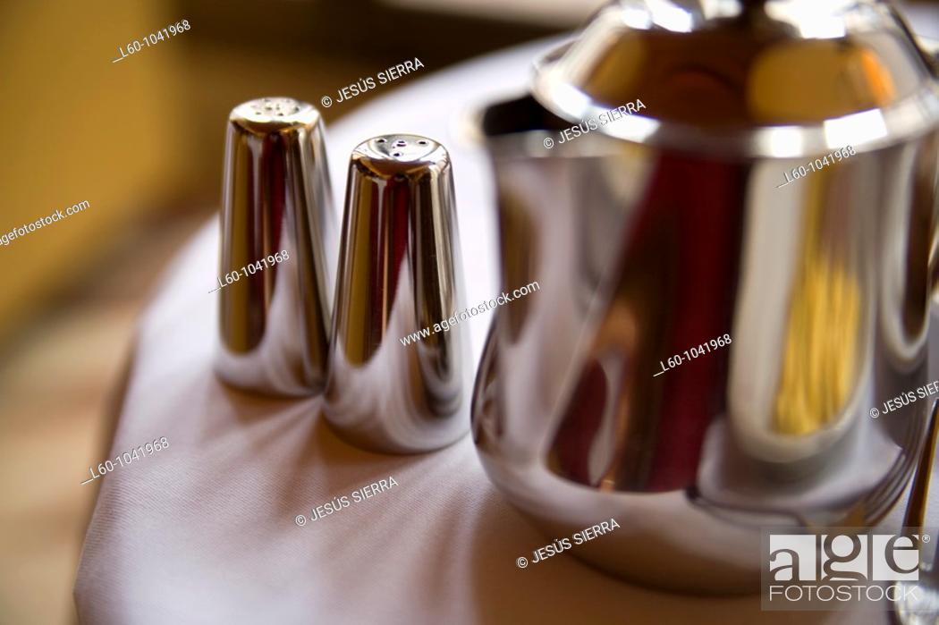Stock Photo: Coffee, salt and peper.