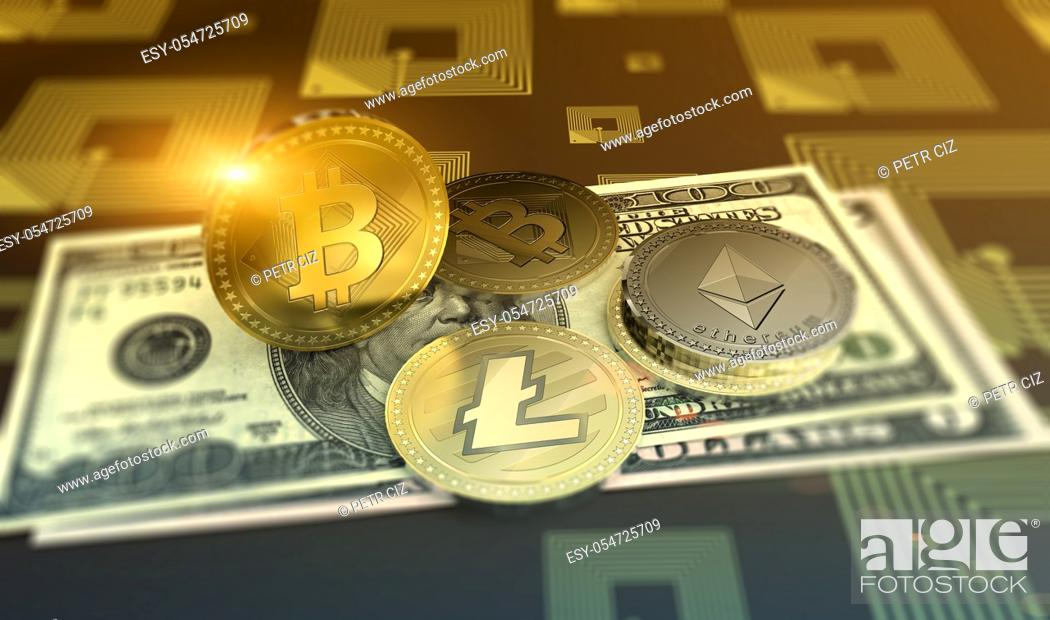 Stock Photo: Cryptocurrency Bitcoin, Ethereum, Litecoin with Dollars Bills as financial concept.