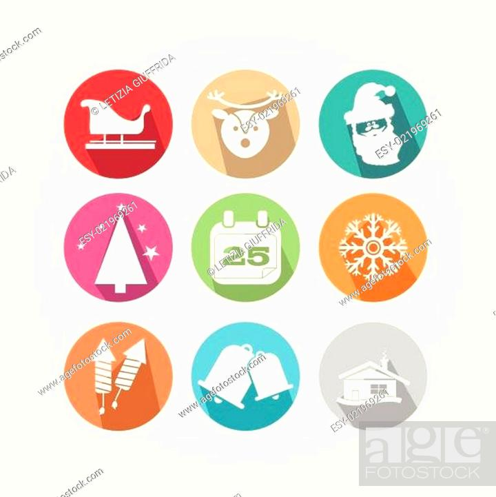 Stock Vector: Set of Christmas icons with the main object of the feast.