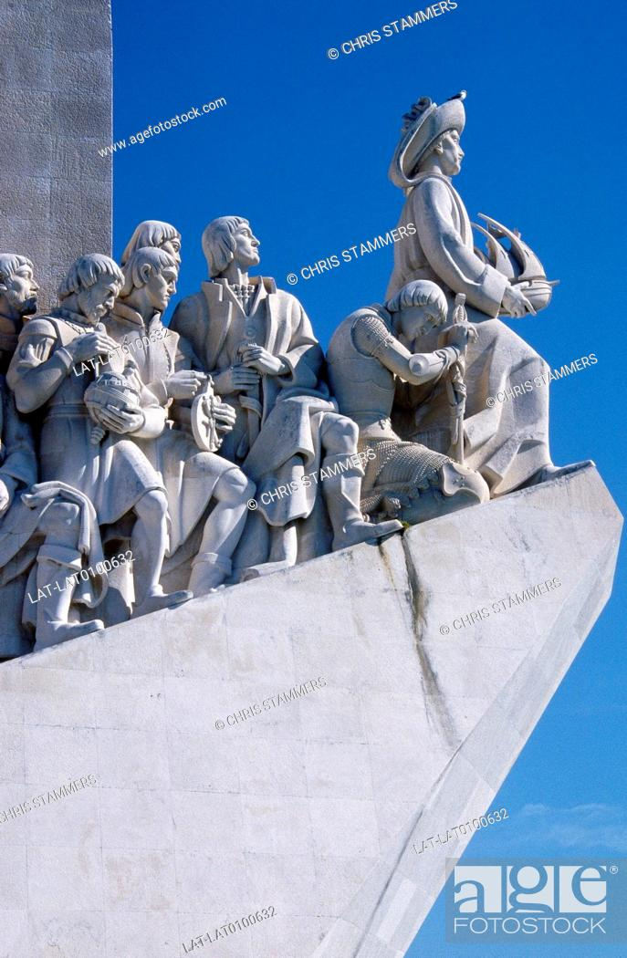 Stock Photo: Belem. Padrao dos Descobrimentos. Monument to the Discoveries. Ship shape. Row of historical figures.
