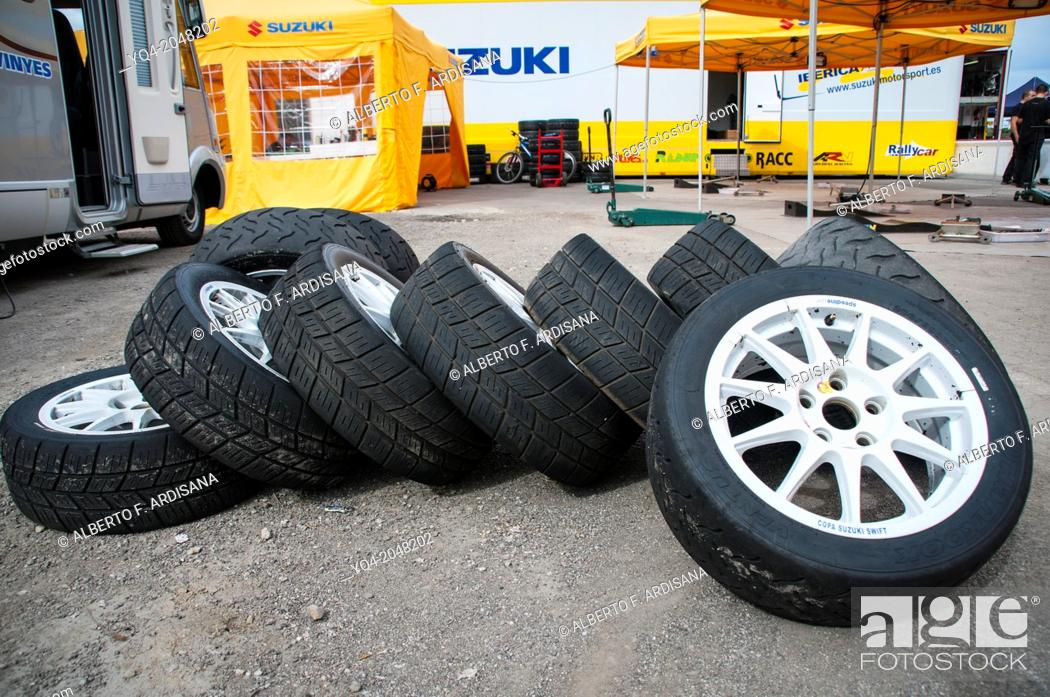 Stock Photo: Competition tires for asphalt rally . Rally de Llanes. Asturias. Spain.