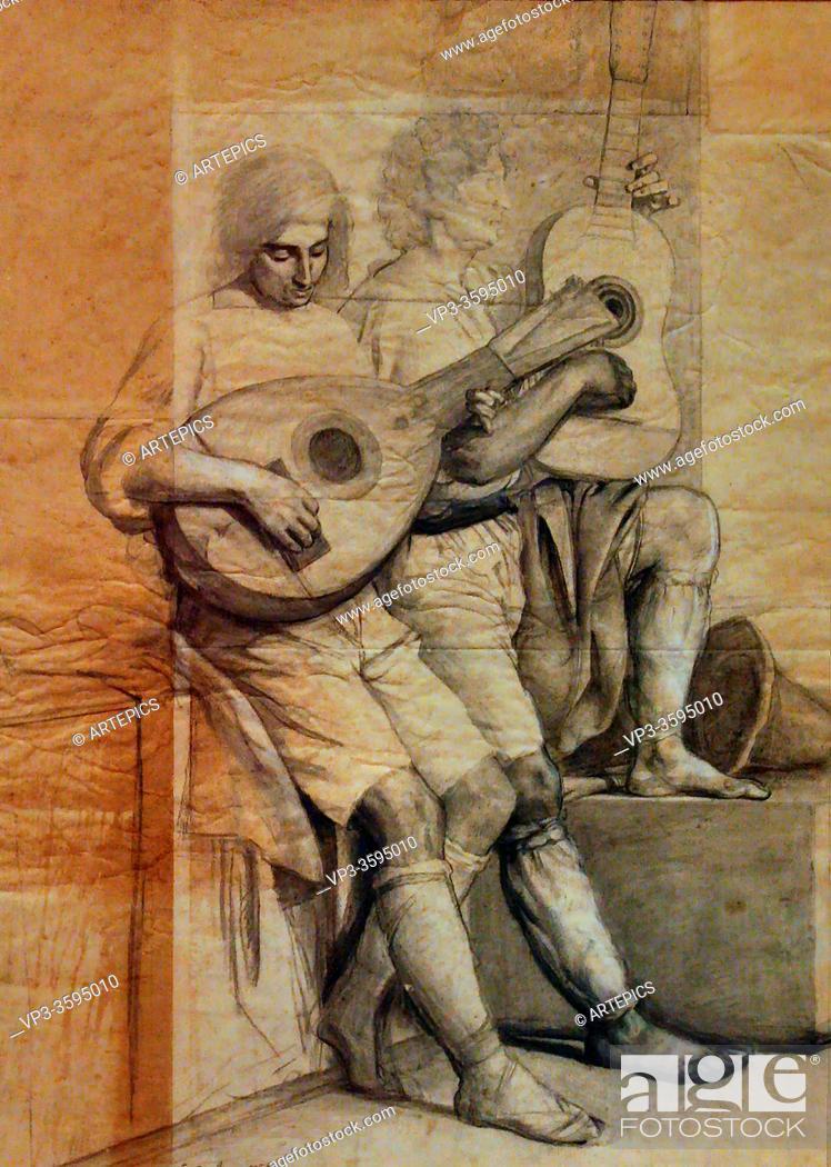Imagen: Bodinier Guillaume - Joueurs De Guitare Et De Mandoline - French School - 19th Century.