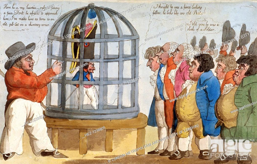Stock Photo: 'The Corsican Bajazet in London', 1803; A sailor displays Napoleon Bonaparte I in a parrot cage. Six Londoners inspect Napoleon and make inane comments.