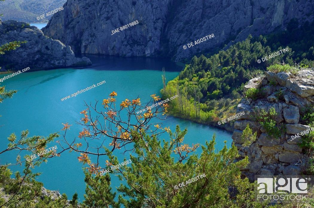 Stock Photo: Krka River between Roski Slap and Visovac, Krka National Park, Croatia.
