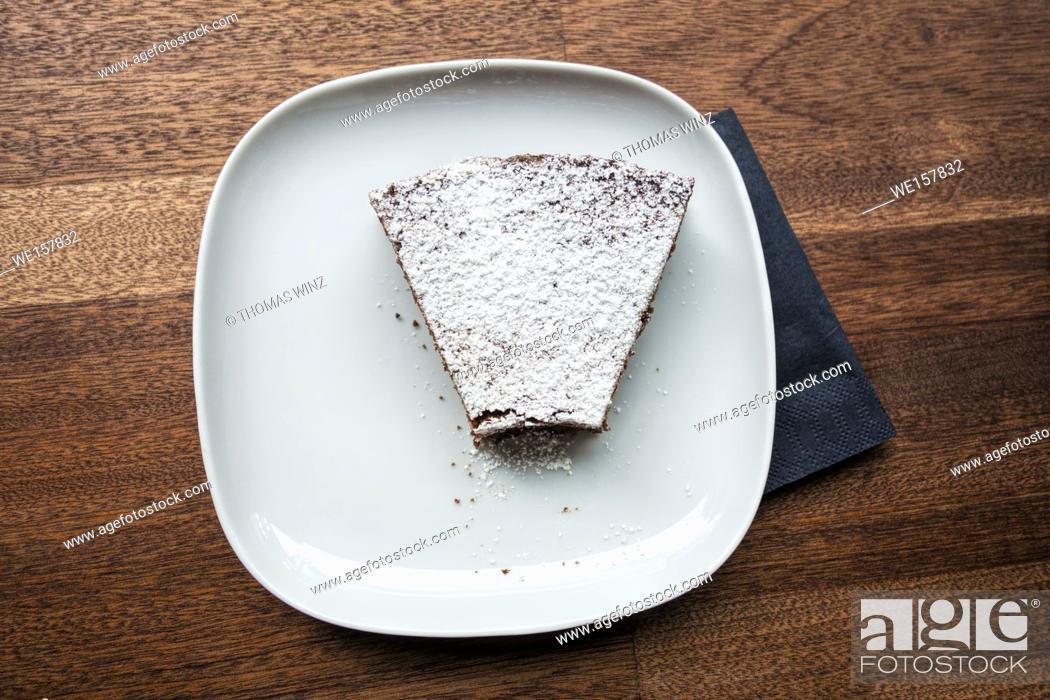 Stock Photo: Hazelnut pie with powdered sugar.