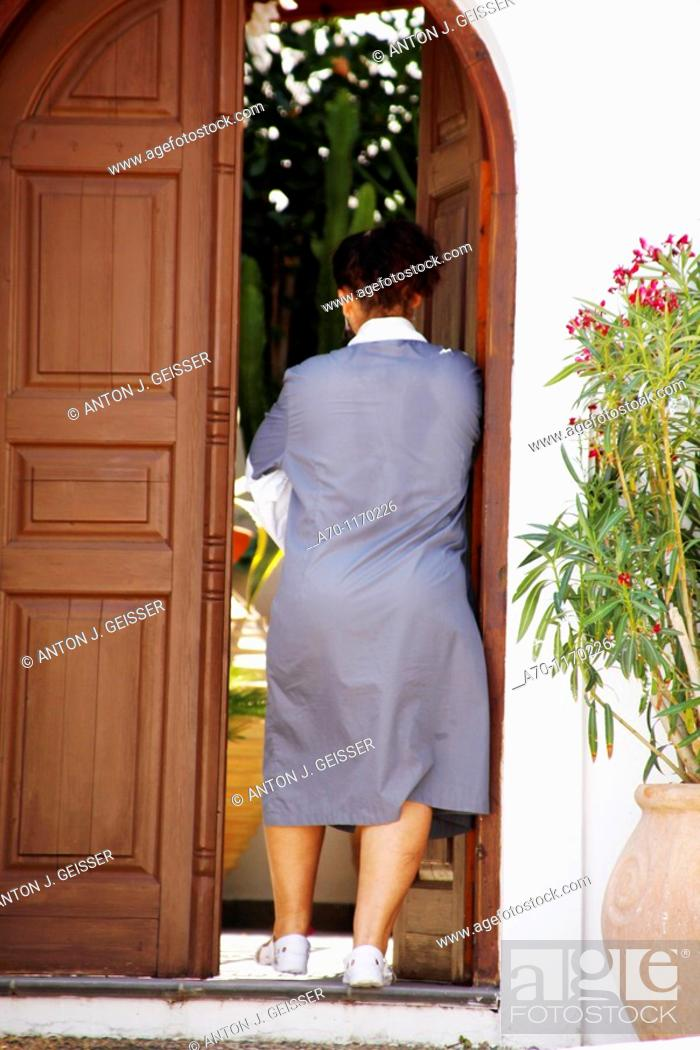 Stock Photo: Housekeeping , maid , lindos greece.