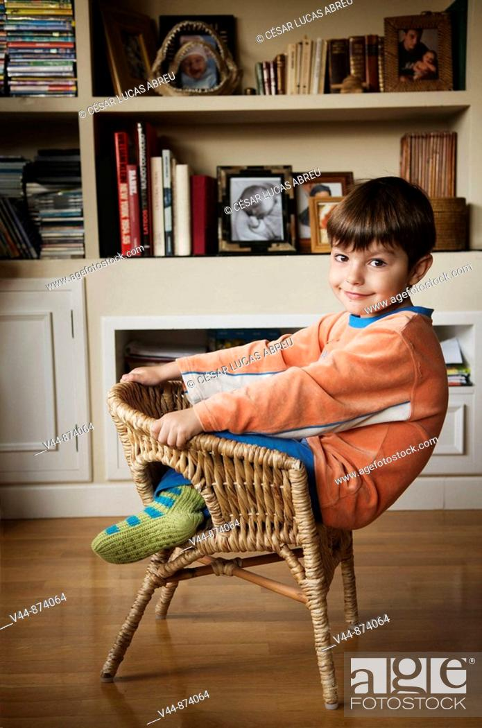Stock Photo: 5 years old boy wearing pijama at home.