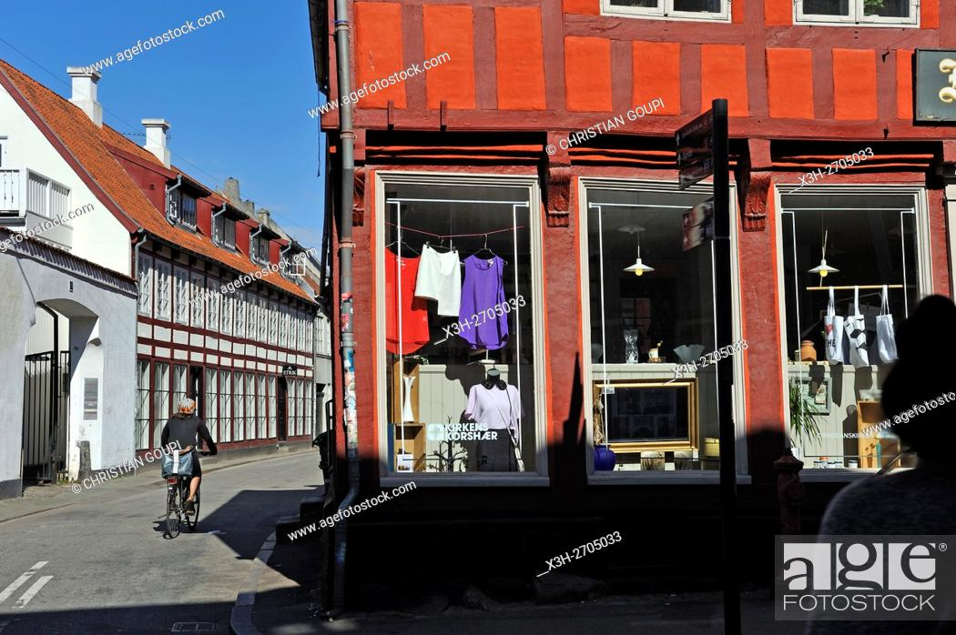 Stock Photo: Mejlgade street, Aarhus, Jutland Peninsula, Denmark, Northern Europe.