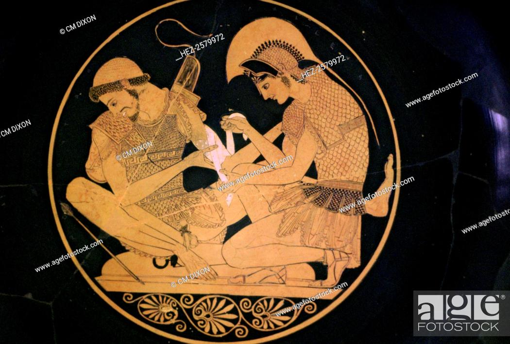 A Greek Vase Painting Of Achilles And Patroclus Where Achilles Is
