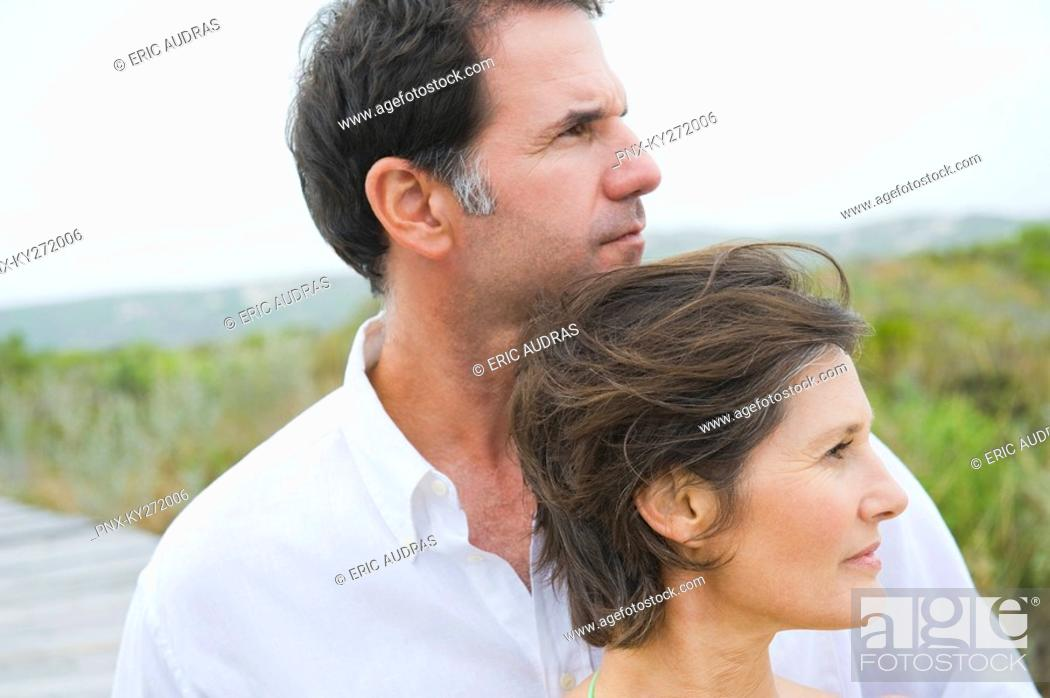 Stock Photo: Close-up of a couple thinking.