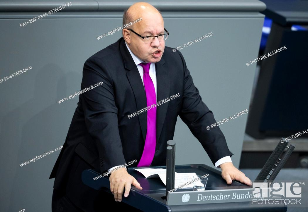 Stock Photo: 03 July 2020, Berlin: Peter Altmaier (CDU), Federal Minister of Economics and Energy, speaks in the plenary session of the German Bundestag.
