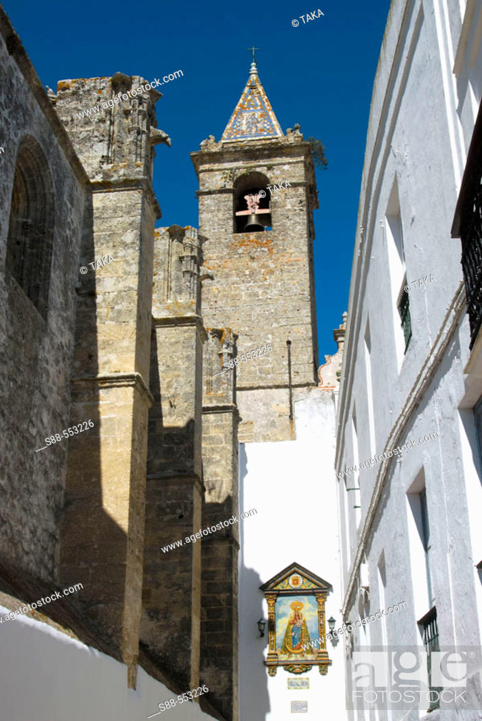 Stock Photo: Church of the Divino Salvador (14th century), Vejer de la Frontera. Cádiz province, Andalusia, Spain.