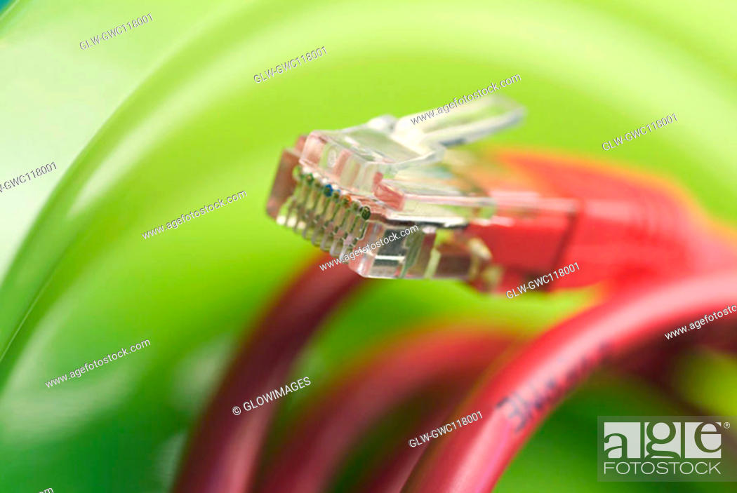 Stock Photo: Close-up of a network connection plug.