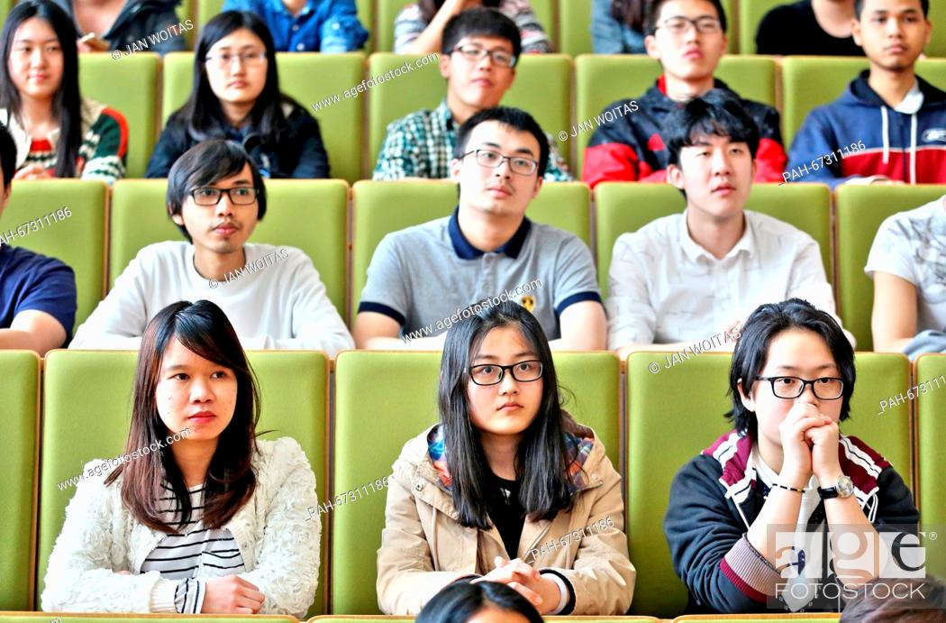 Stock Photo: Chinese high-school graduates sit in a lecture hall at the West Saxon University of Applied Sciences of Zwickau, Germany, 08 April 2016.