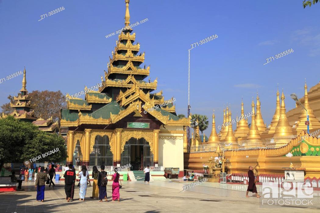 Stock Photo: Myanmar, Burma, Bago, Shwemawdaw Pagoda, people,.