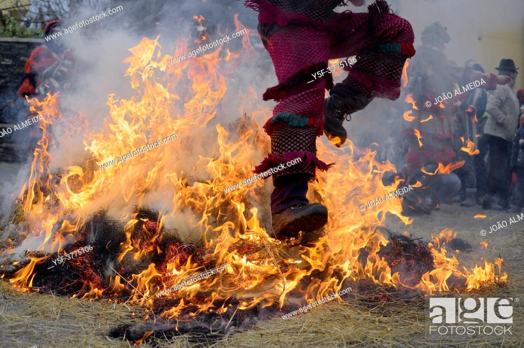 Stock Photo: The Entrudo (or Shrovetide) festivities at Vila Boa (small village in Portugal's Trás-Os-Montes region), a traditional carnival celebration that dates back to.