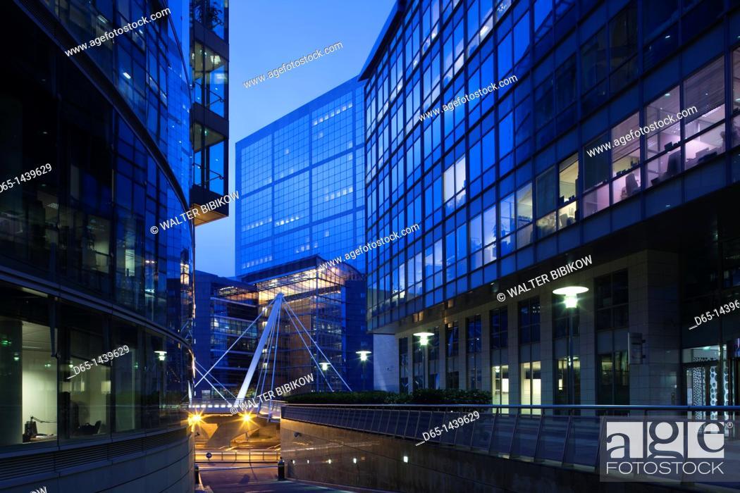 Stock Photo: France, Paris, La Defense Area, modern office buildings, dawn.