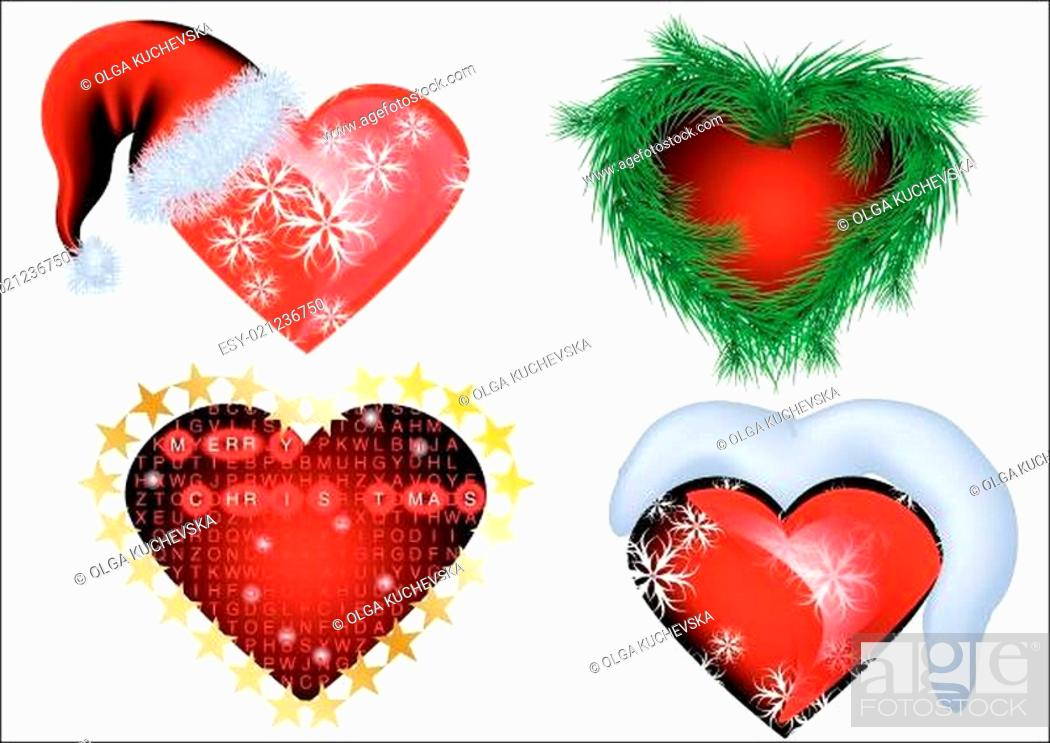 Stock Vector: set of christmas heart.