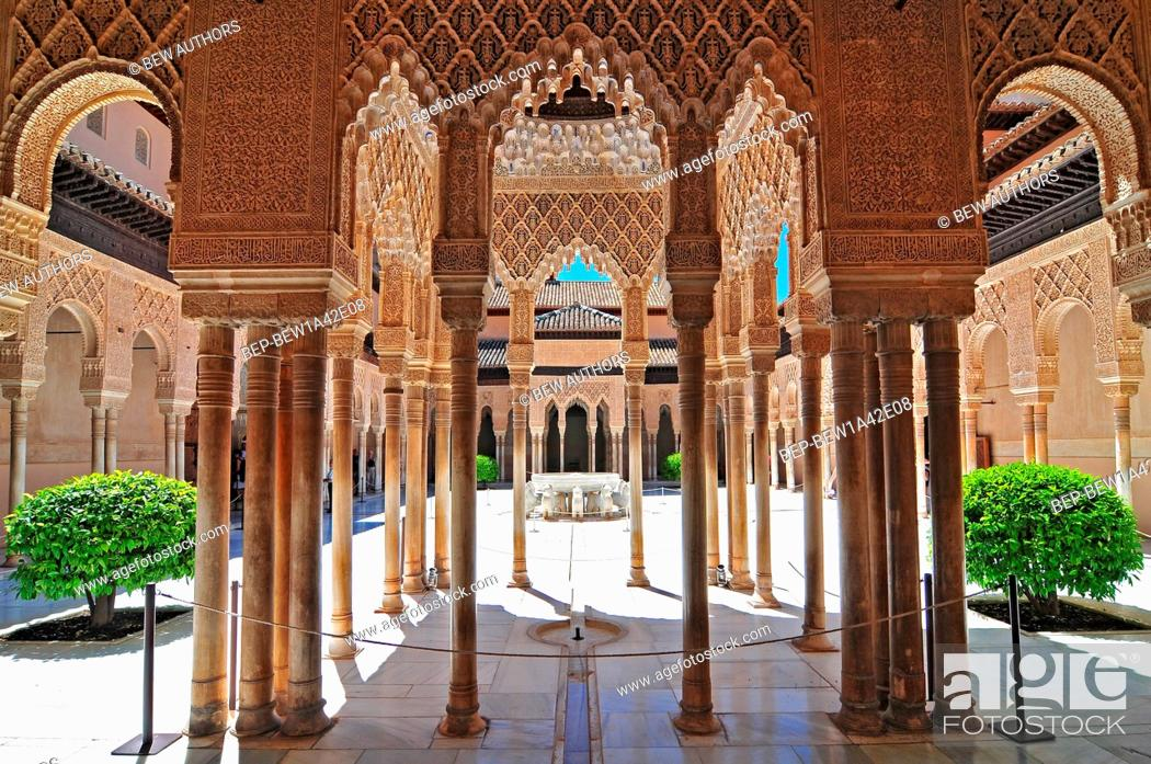 moorish architecture of the court of the lions the alhambra