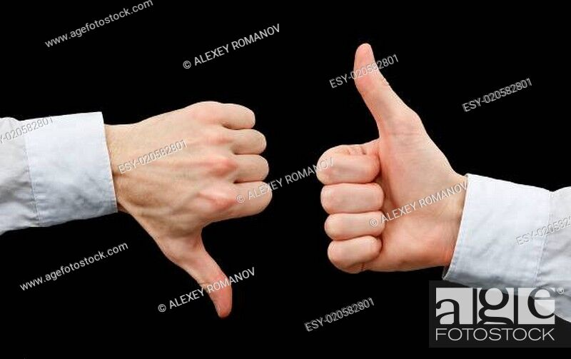 Stock Photo: Two hands showing gestures thumb up & thumb down.