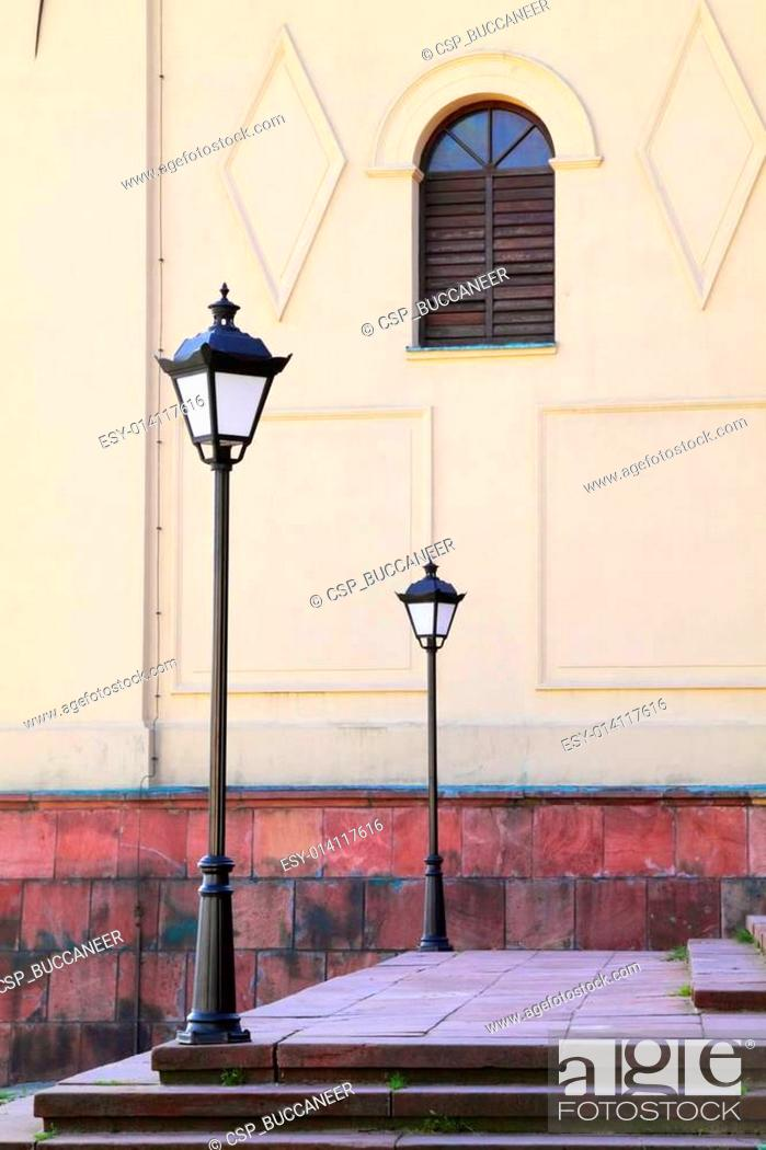 Stock Photo: Two street lamps and window.