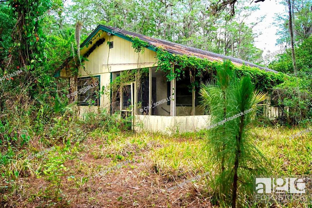Stock Photo: old florida abandoned house.