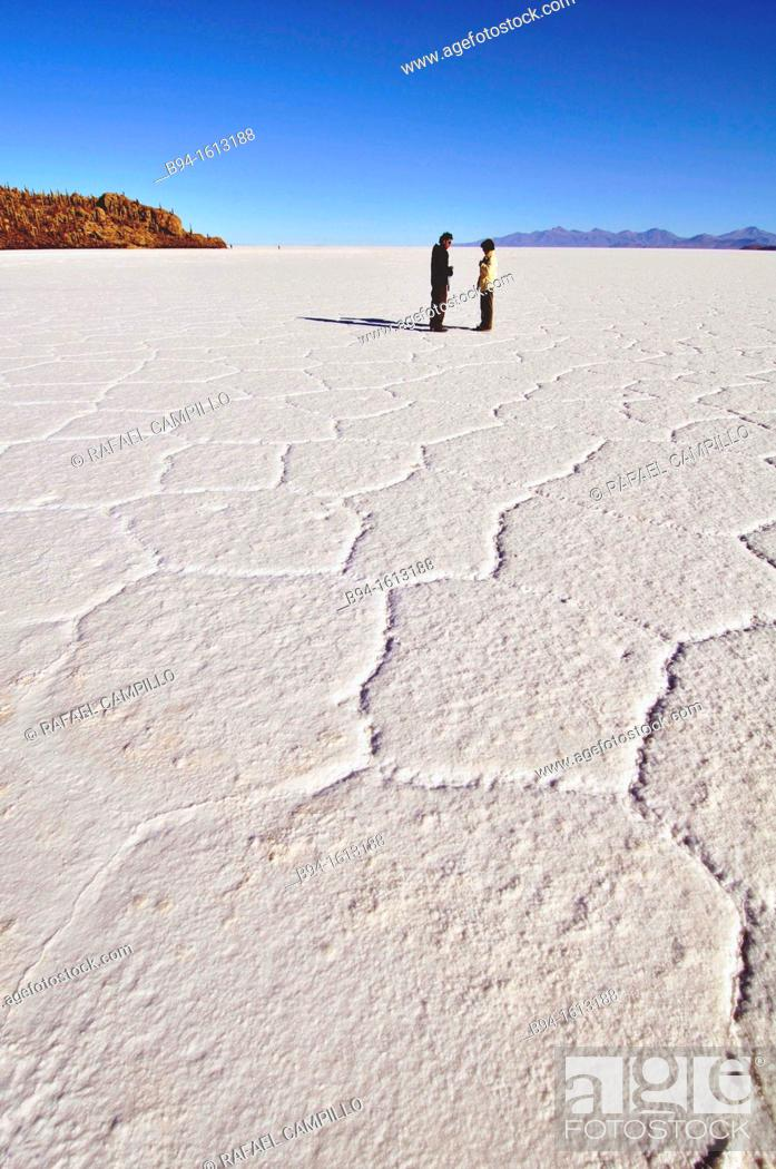 Stock Photo: Salar de Uyuni the world's largest salt flat at 10,582 square kilometers. It is located in the Potosí and Oruro departments in southwest in the Potosí.
