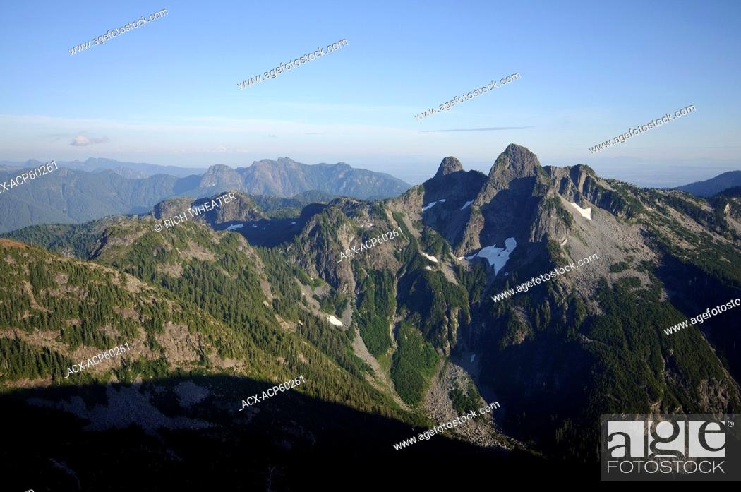 The Lions and Howe Sound Crest Trail as seen from Mount