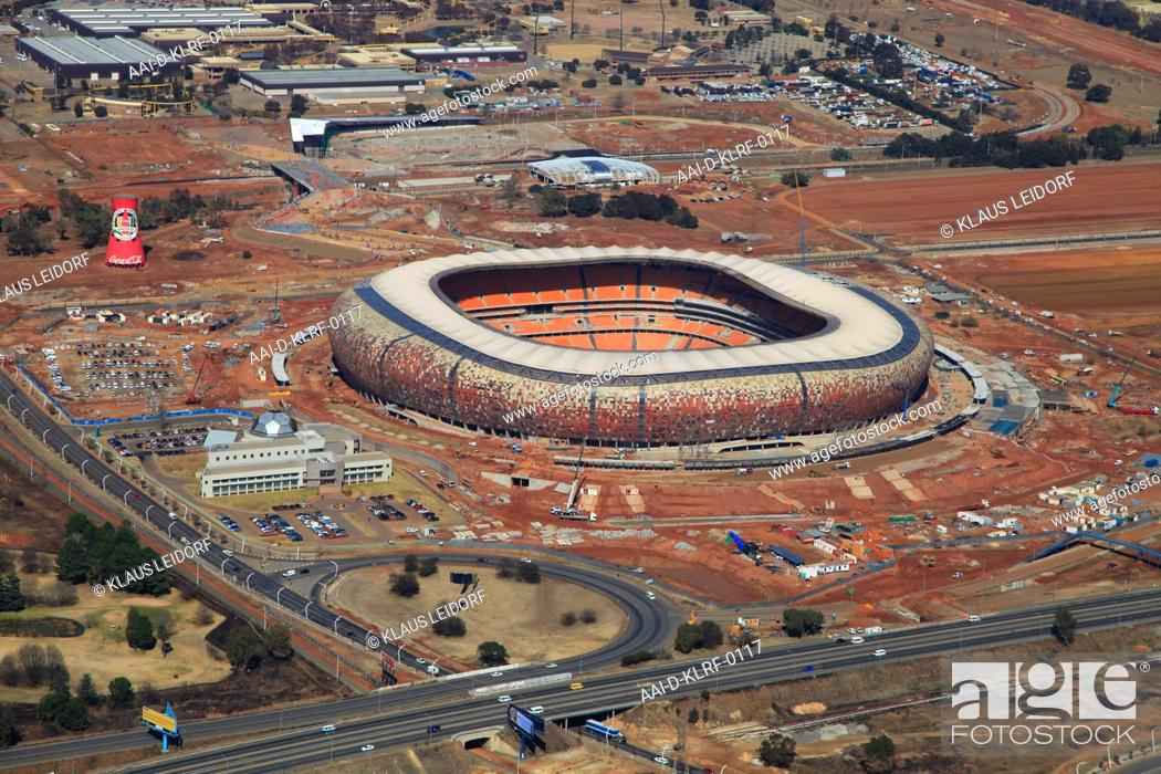 Aerial photograph of the Soccer-City, FNB-Stadium in