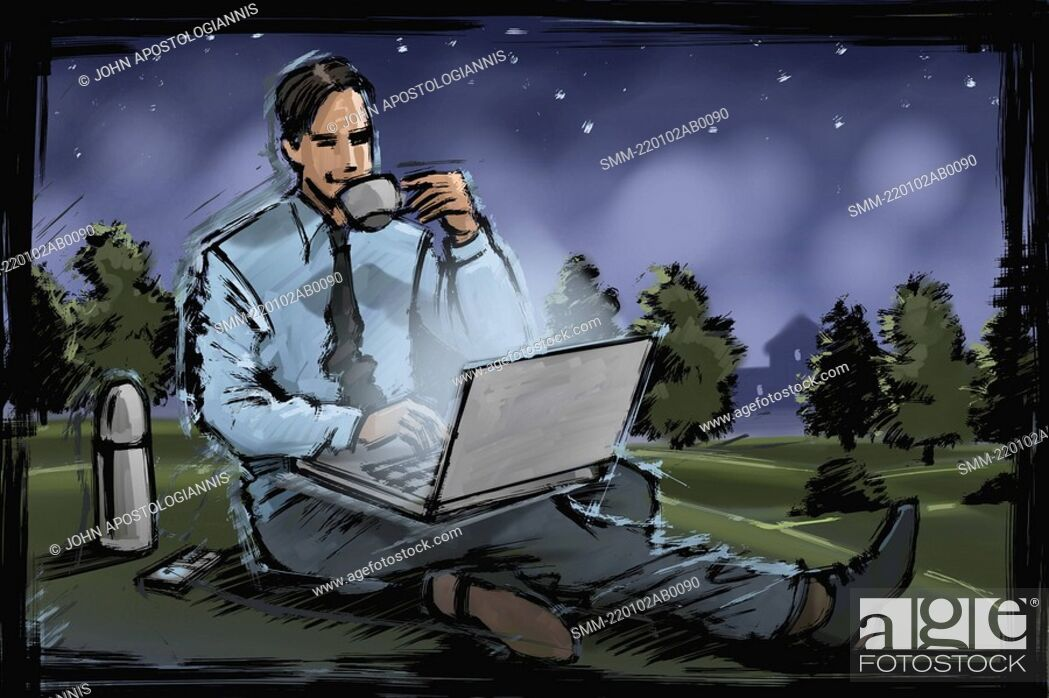 Stock Photo: Man working on laptop in the park.