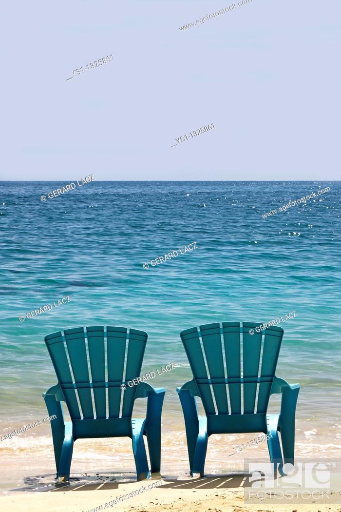 Stock Photo: Blue Beach Chairs, Cat Island in Bahamas.
