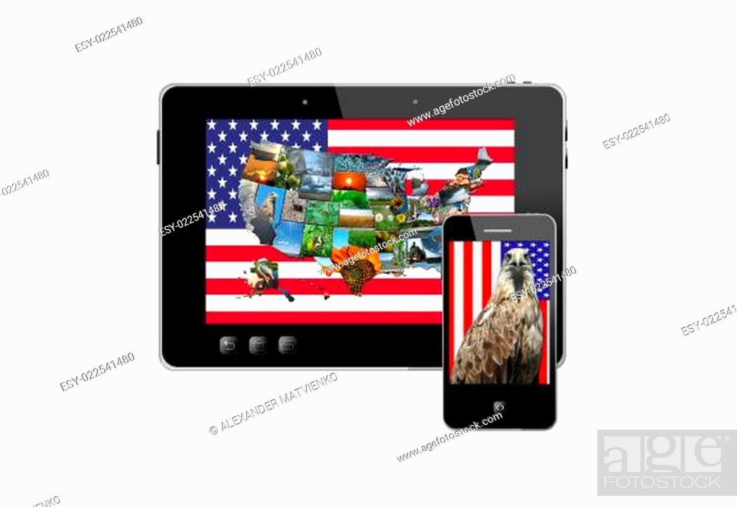 Imagen: tablet and modern mobile phone with symbols of USA.