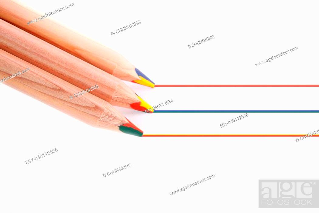 Stock Photo: pencil lead is three kinds of color pencil, draw lines of color.